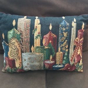 Other - 5/$25 Tapestry Christmas candles decorative pillow